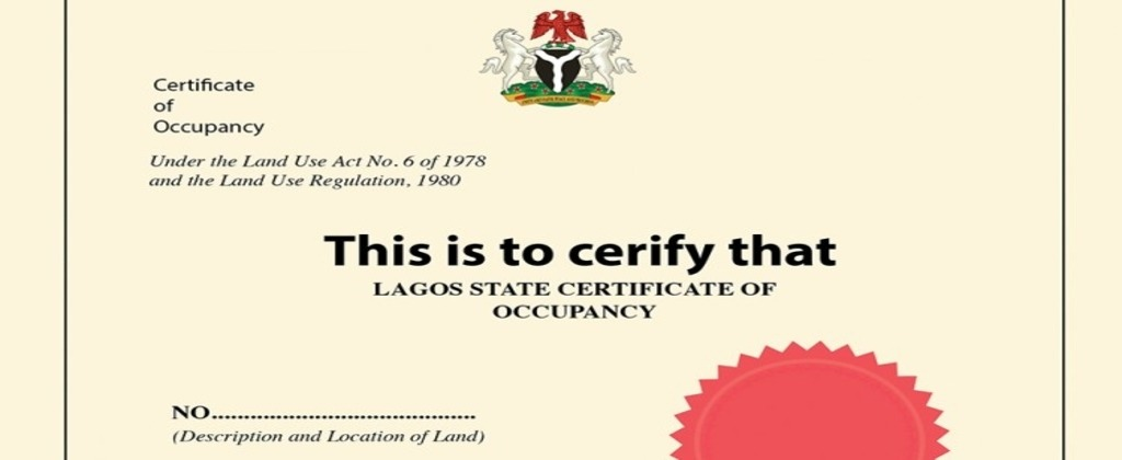 Certificate of Occupancy In Nigeria